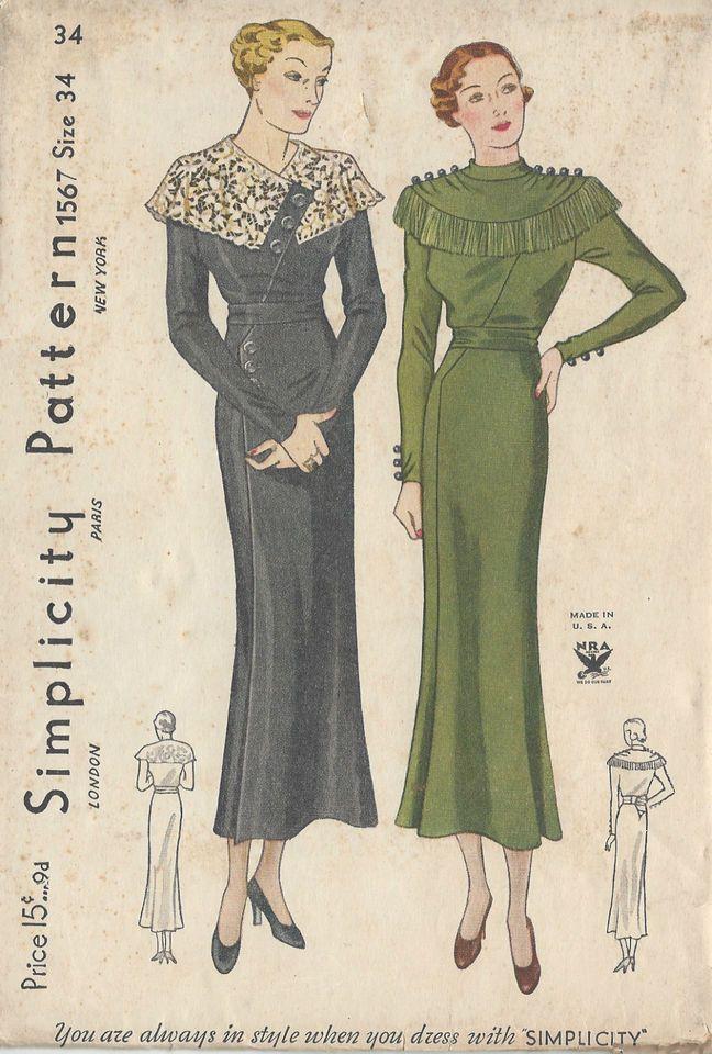 1930s Vintage Sewing Pattern DRESS B34\