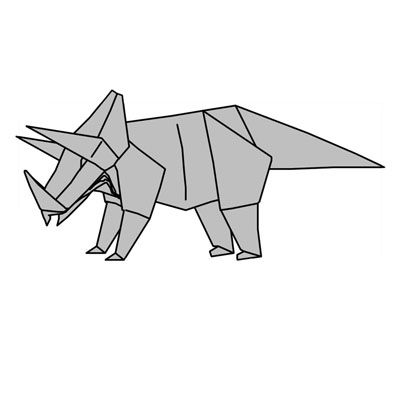 Origami Triceratops Paper Tattoo And Tatting