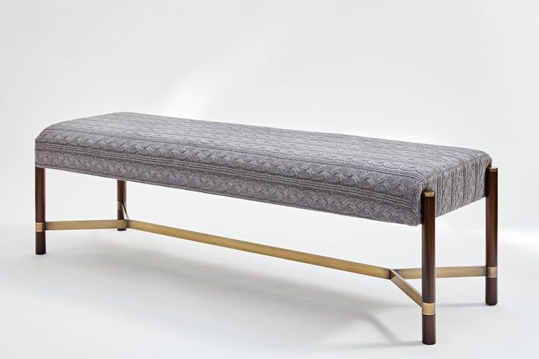 Raj Contemporary Imbuia Wood And Brass Bench In 2021 Solid Wood Benches Upholstered Bench Black Leather Benches