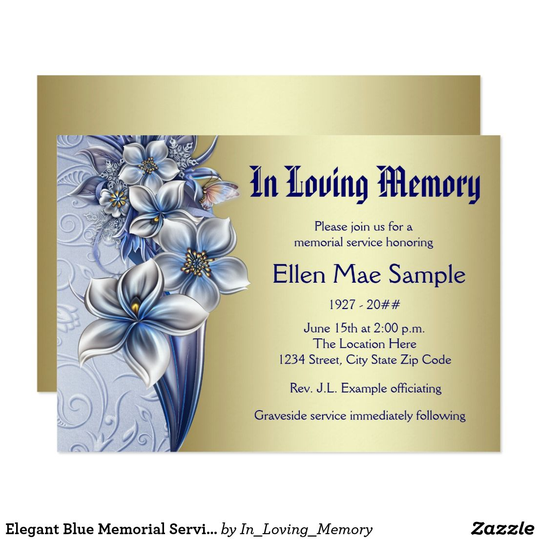 Elegant Blue Memorial Service Announcements  Funerals
