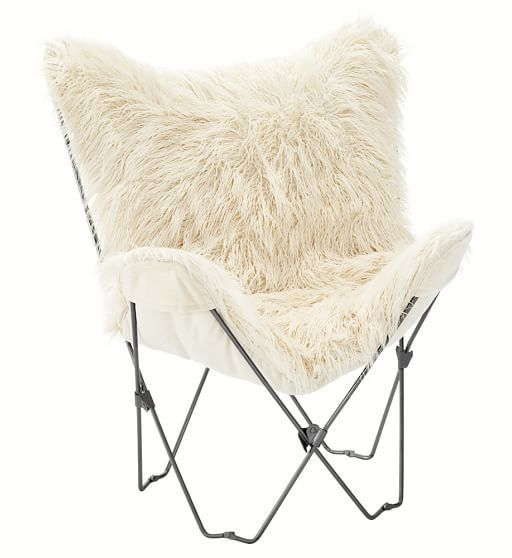 Furlicious Faux-Fur Butterfly Chair Slipcover + Base