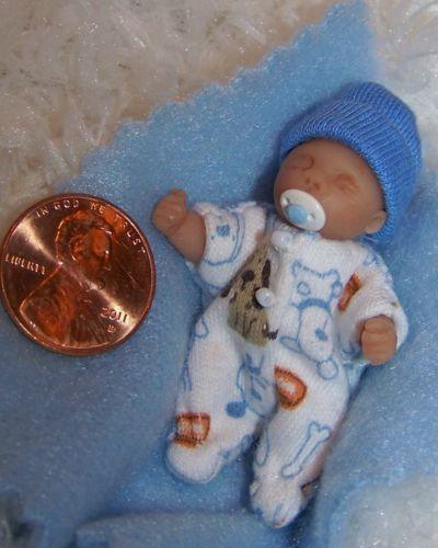Ooak Clay Baby Boy 1 3 4 In Dollhouse Barbie Minature