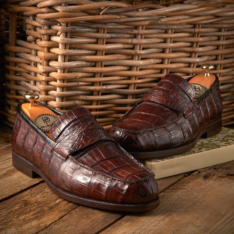 fe2395e21d Paul Parkman Men s Brown Genuine Crocodile Penny Loafers (ID PN49LF ...