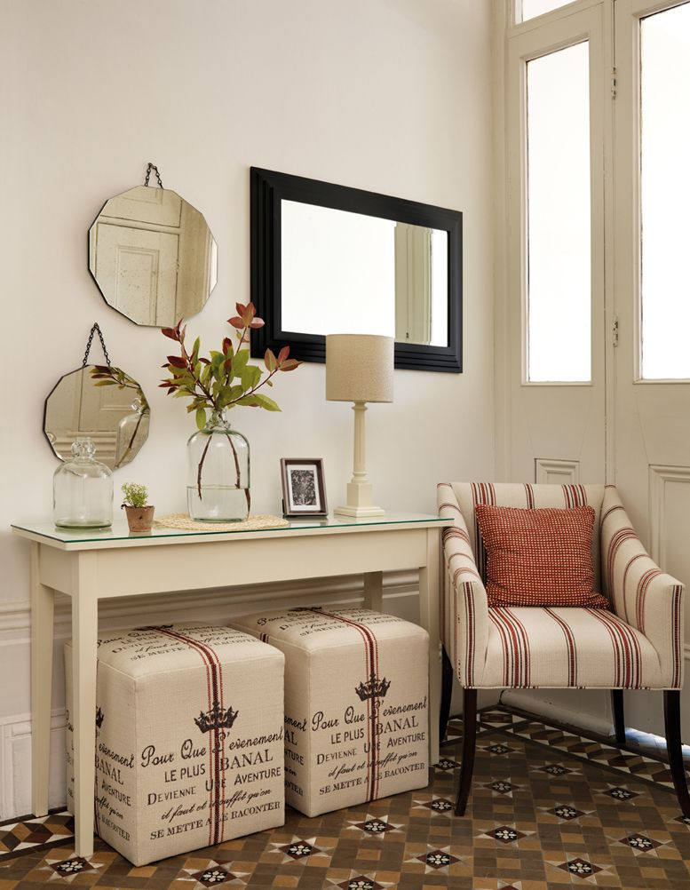 decorate narrow entryway hallway entrance. Narrow Console Table, Graphic Print Carpeting, Armchair, And Mirrors In The Foyer Decorate Entryway Hallway Entrance