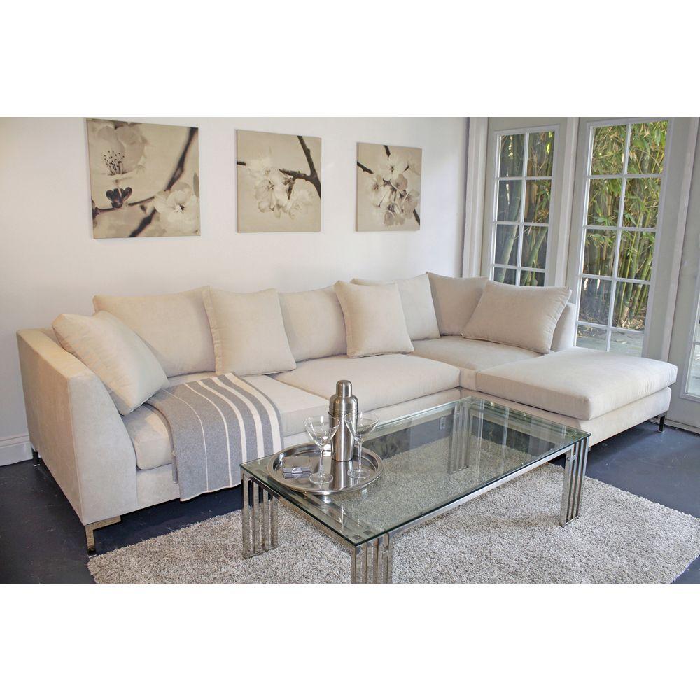 Decenni Custom Furniture 39 Divina 39 Bone 9 5 Foot Modern Sectional Sofa By Decenni Custom