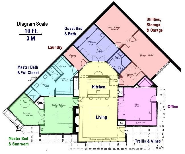 This Picture Shows The Floor Plan Superimposed On The Landscape Drawing Underground Homes Earth Sheltered Earth Sheltered Homes