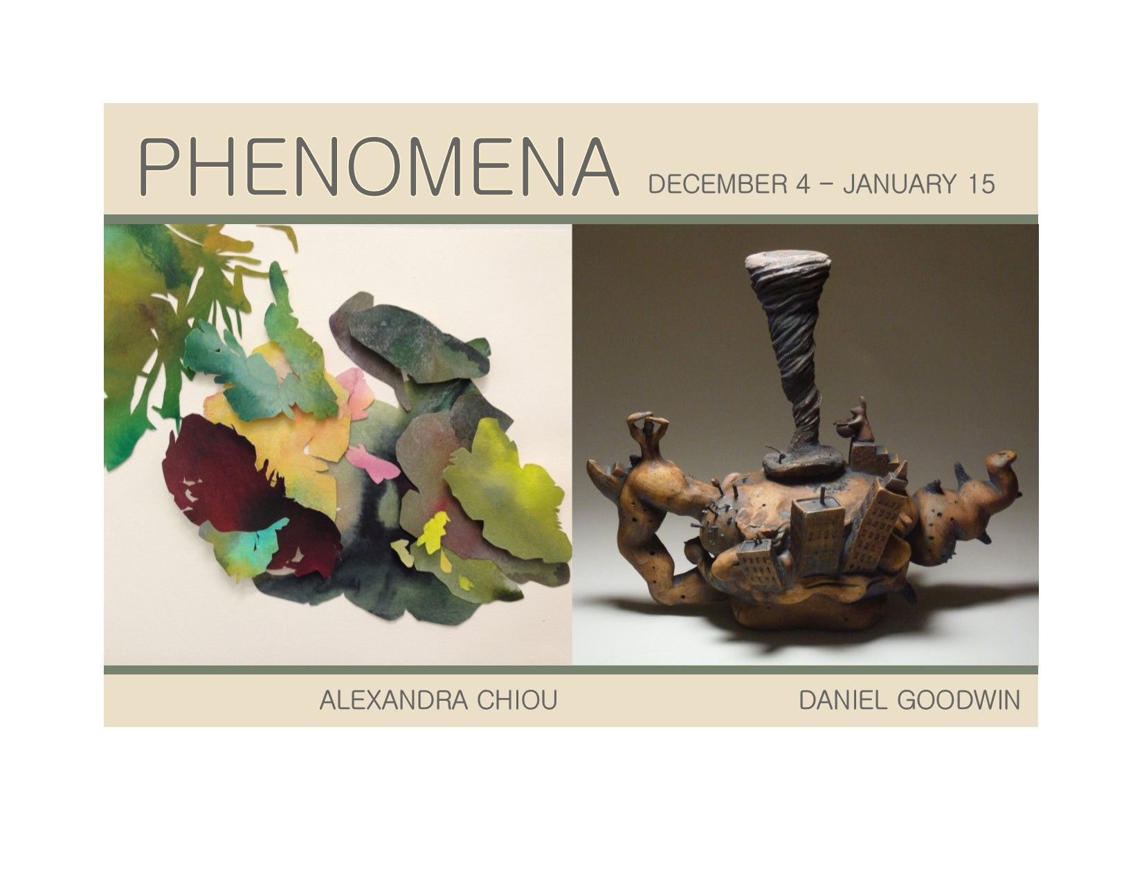 PHENOMENA - Alexandra graduated from UVA & double majored in Studio Art & Commerce. Her work has been exhibited at the American University Art Museum, artdc Gallery & Hillyer Art Space. She completed a Residence at the Strathmore in Bethesda, MD. Daniel received his Bachelors/Fine Arts from Alfred University & his Masters/Fine Arts from Norfolk State. Daniel creates surreal landscapes in ceramic.  His work has been exhibited at  galleries & museums to include Tokyo Metropolitan Museum.