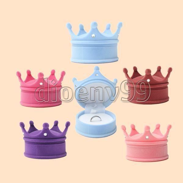 velvet princes crown shape earring jewellery gift case necklace