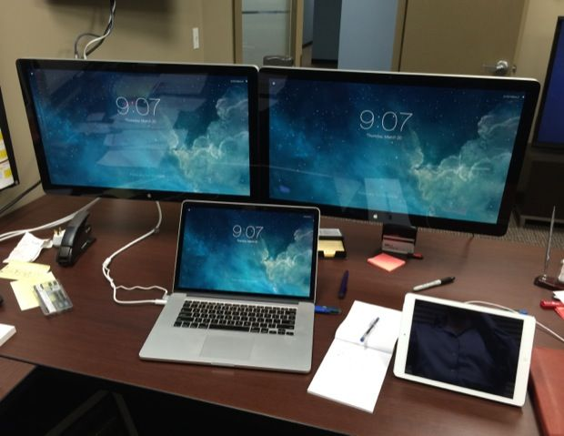 Home Office Dual Desk Setup: MacBook Pro With Dual Thunderbolt Displays