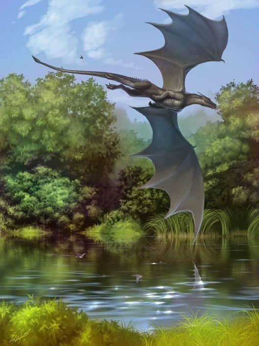 水辺を飛ぶドラゴンの壁紙