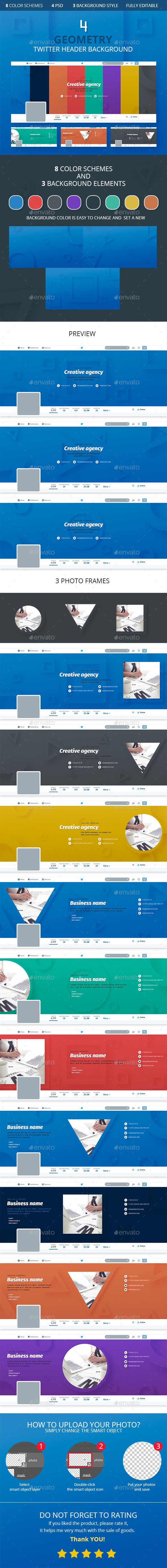 4 Geometry Twitter Header Background Template Psd Download Here