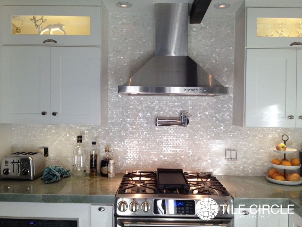 White mother of pearl brick pattern backsplash by tile circle with white mother of pearl brick pattern backsplash by tile circle with stainless steal appliances available doublecrazyfo Images