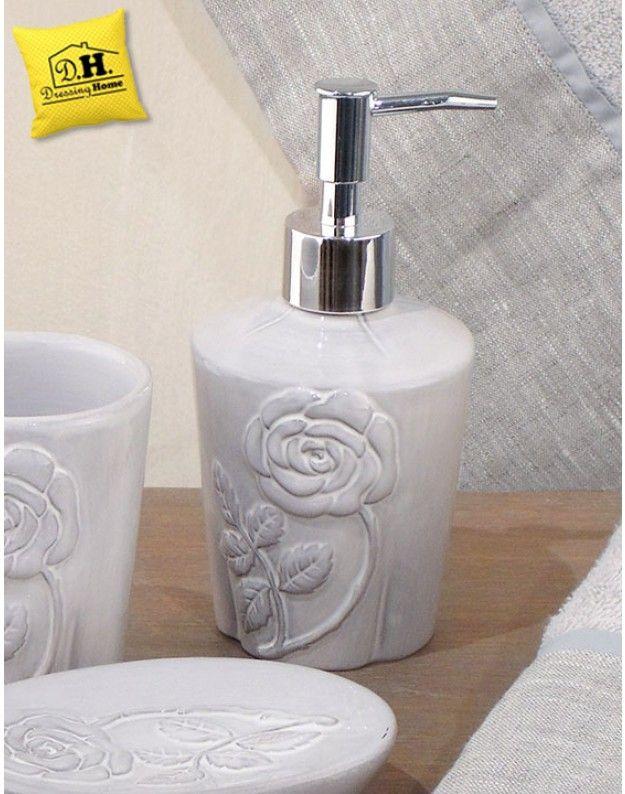 Accessori Bagno Blanc Mariclo.Dispenser Per Sapone Liquido In Ceramica Rosa Antica