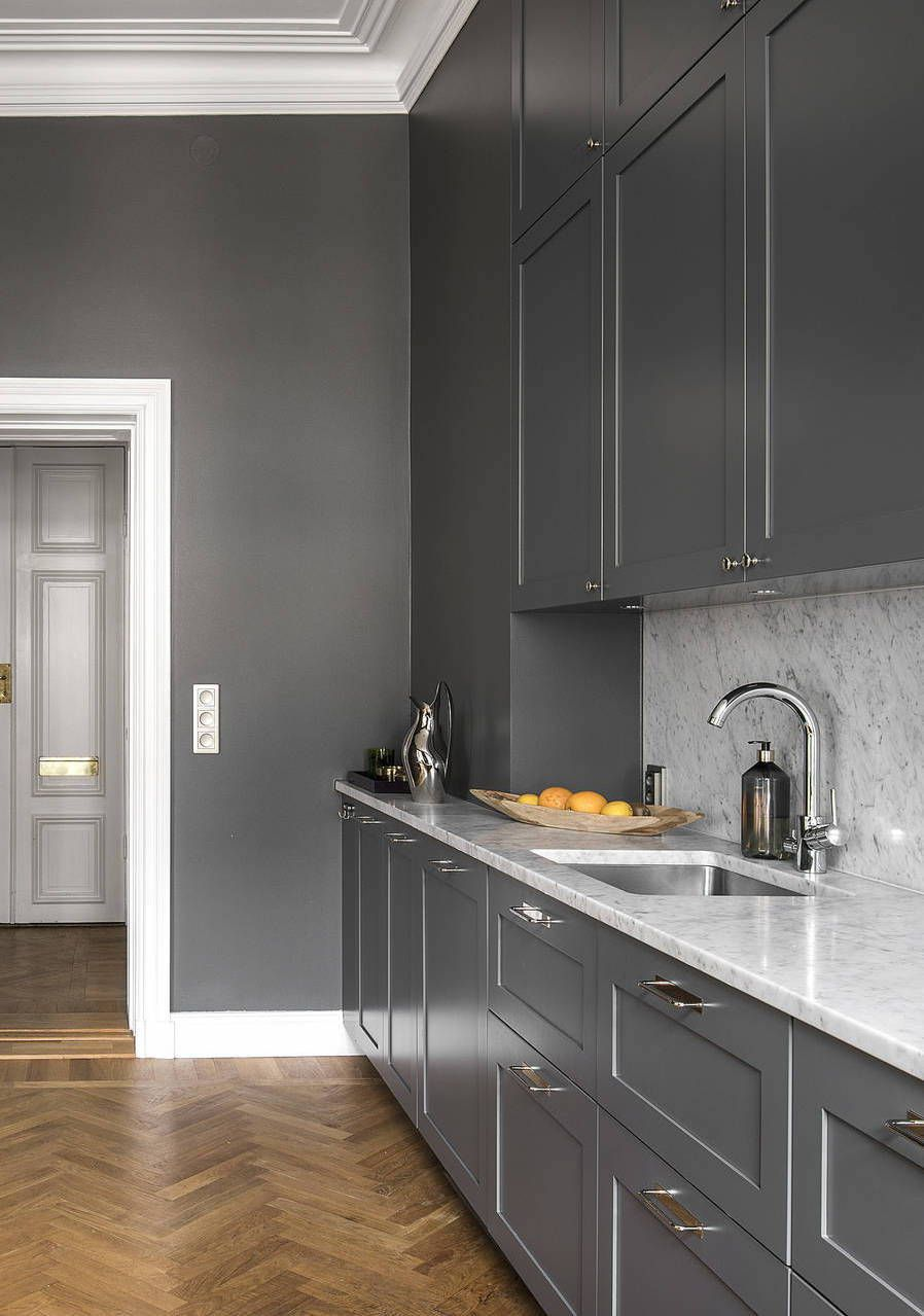 Cozy Dark Grey Kitchen Via Coco Lapine Design Blog