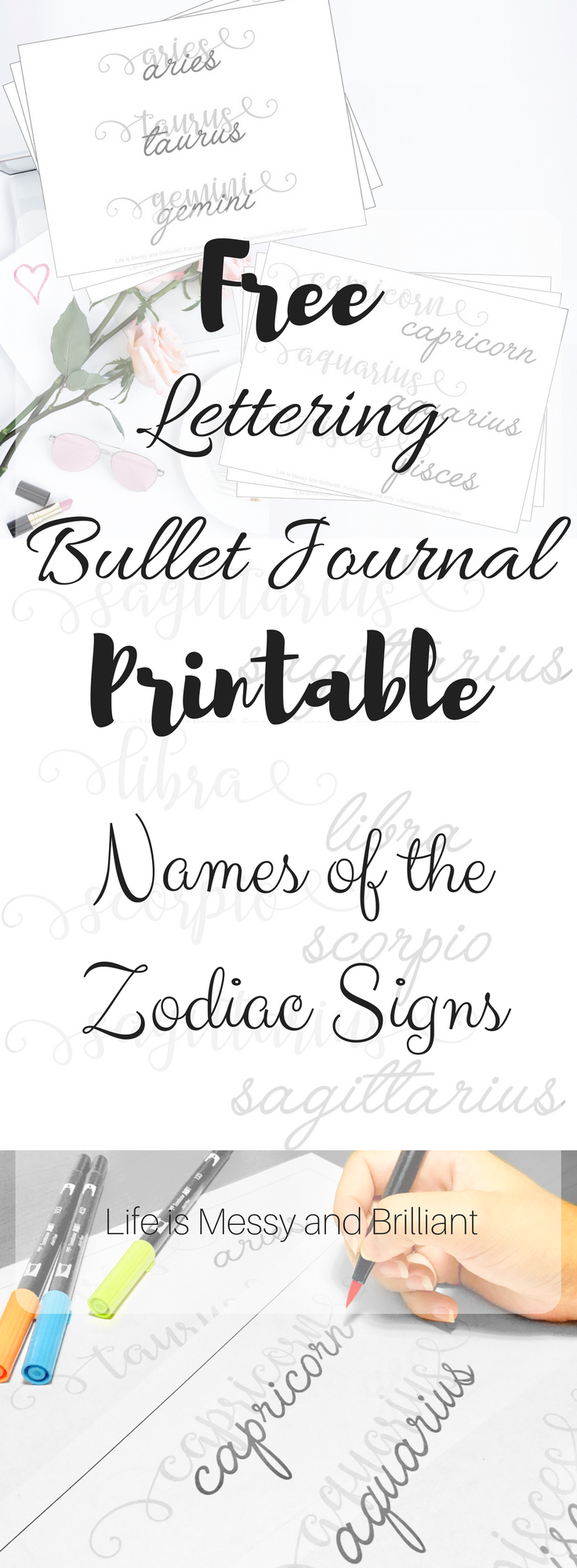 Predownload: Free Names Of The Zodiac Signs Lettering Printable Hand Lettering Worksheet Hand Lettering Practice Sheets Hand Lettering Printables [ 2000 x 736 Pixel ]