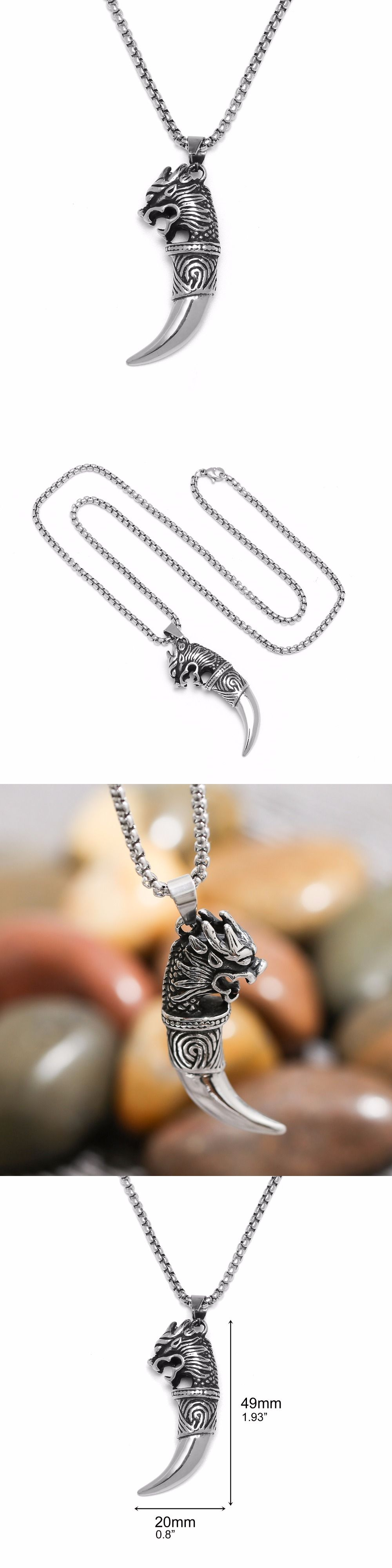 925 Sterling Silver Dragon Head Wolf Tooth Pendant Necklace 22 Inches Boyfriend Gift aog1Wk0Jl
