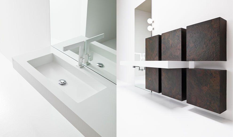 mobili bagno colorati dal contrasto ricercato di bordature sottili e cromie decise la proposta