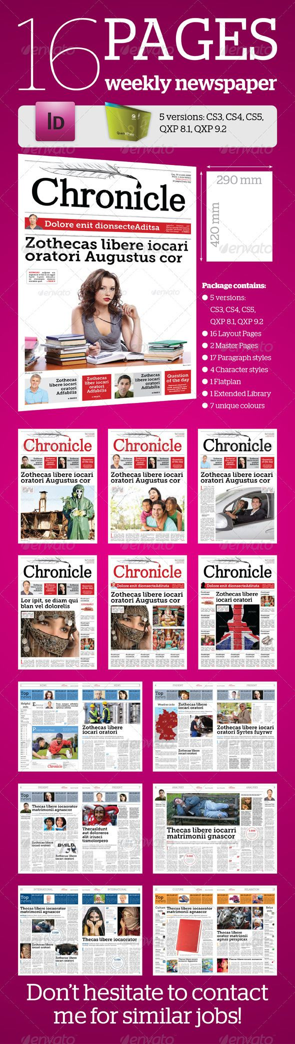 16 Pages Weekly Newspaper Newsletter Template Indesign Indd