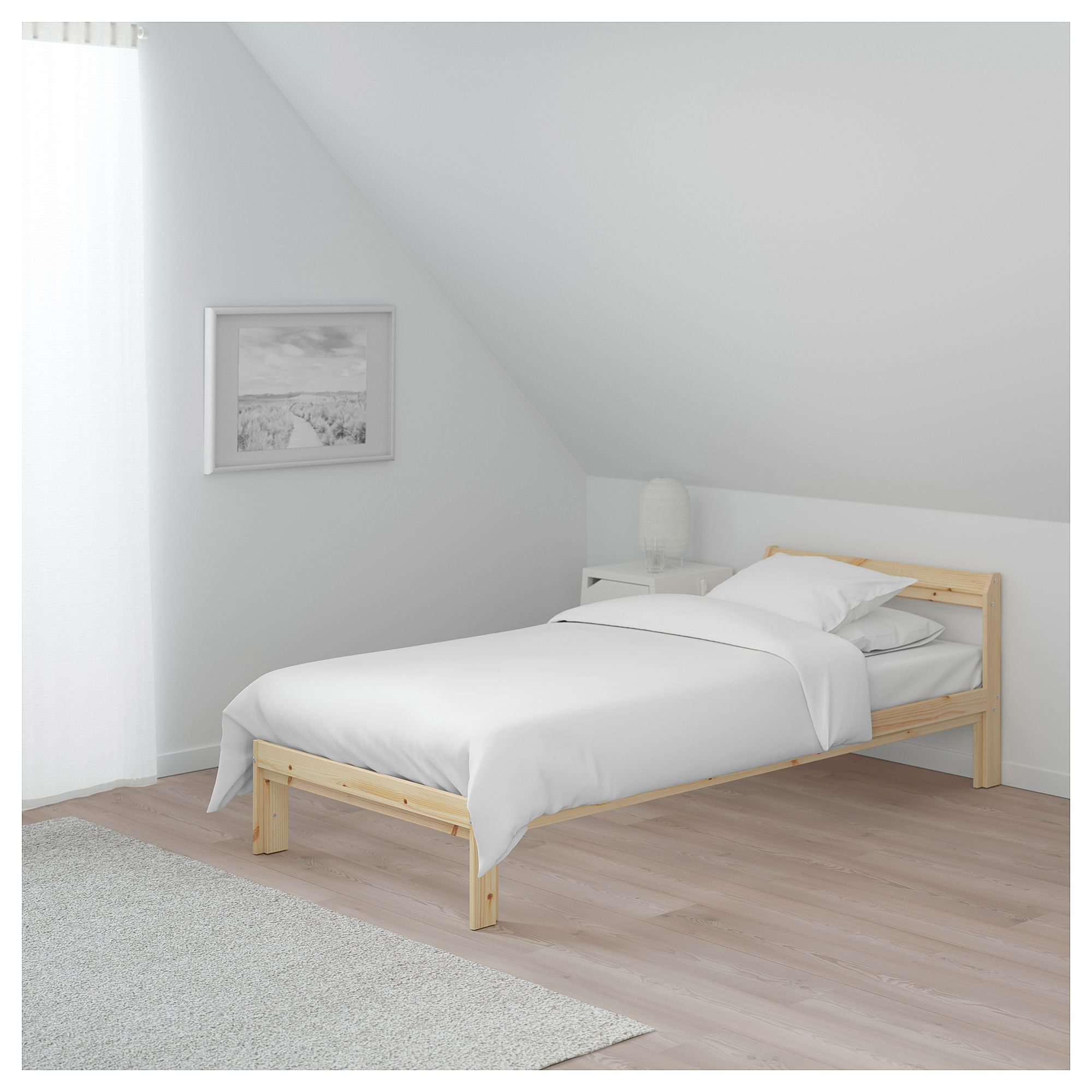 Neiden Bed Frame Pine Birch Luroy Shop Here Ikea Single Bed Frame Bed Frame Pine Bed Frame