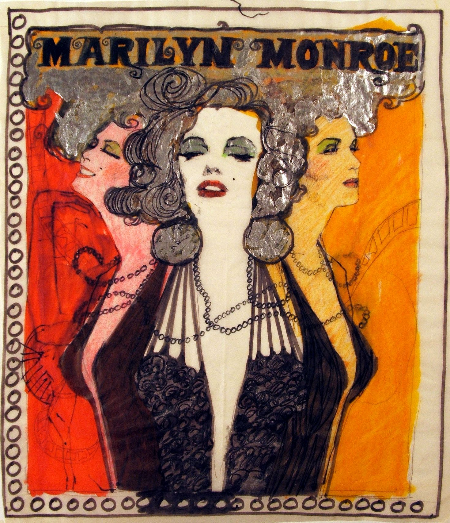 Marilyn Monroe   Unsigned & undated  (circa 1965-1969?)  Pencils, ink, and silver marker/paint on glassine