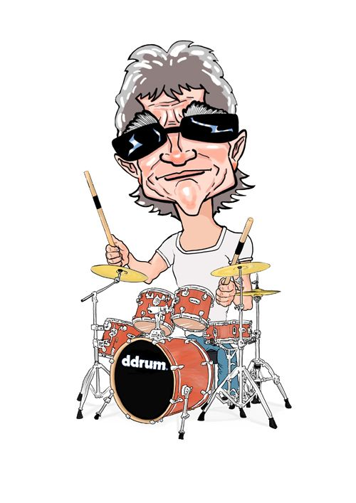 funny drum art   Cartoon of Jim playing drums by Jon ...   Cartoons About Drummers