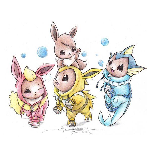 Pok mon dress up as their evolutions pokemons petits montsres little monster pokemon evoli - Pokemon famille pikachu ...