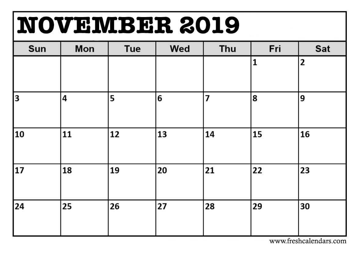 Take November 2019 Printable Calendar Pdf Calendar Printables