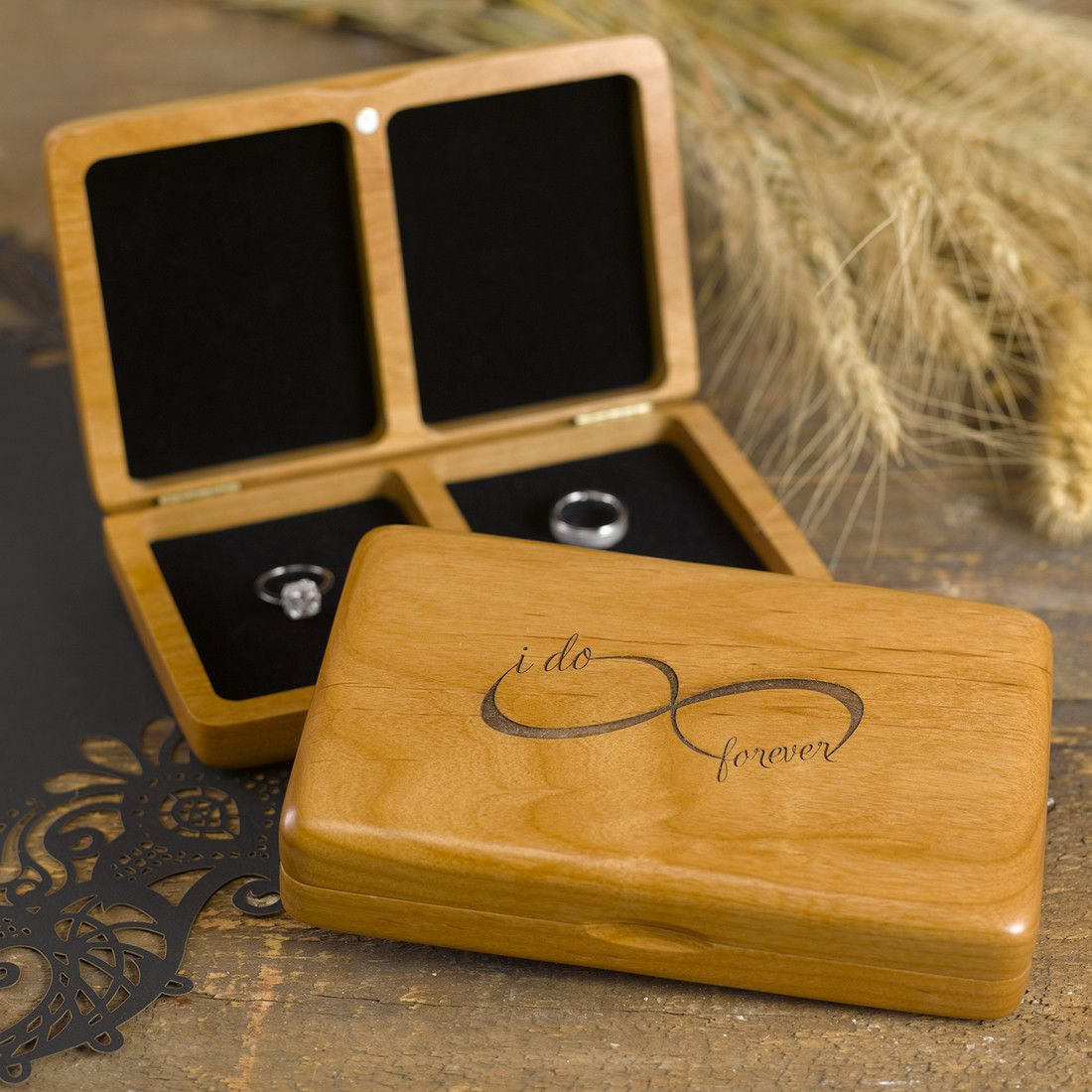 Infinity Alder Wood I Do Wedding Ring Box Wedding ring box Box