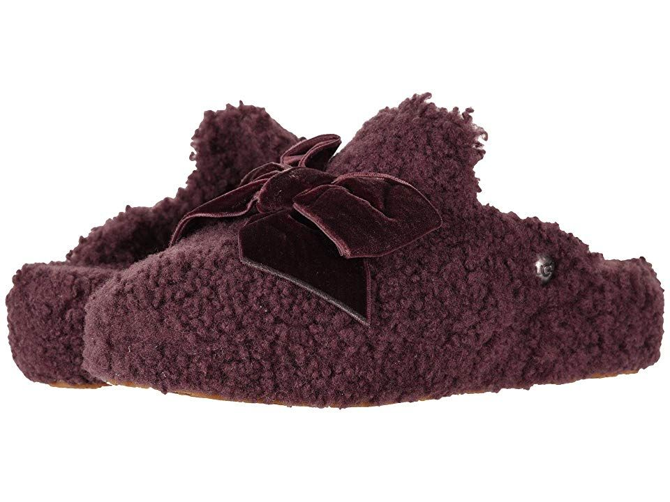 d89e956ba UGG Addison Velvet Bow Slipper (Port) Women's Slippers. Wrap yourself in  complete comfort