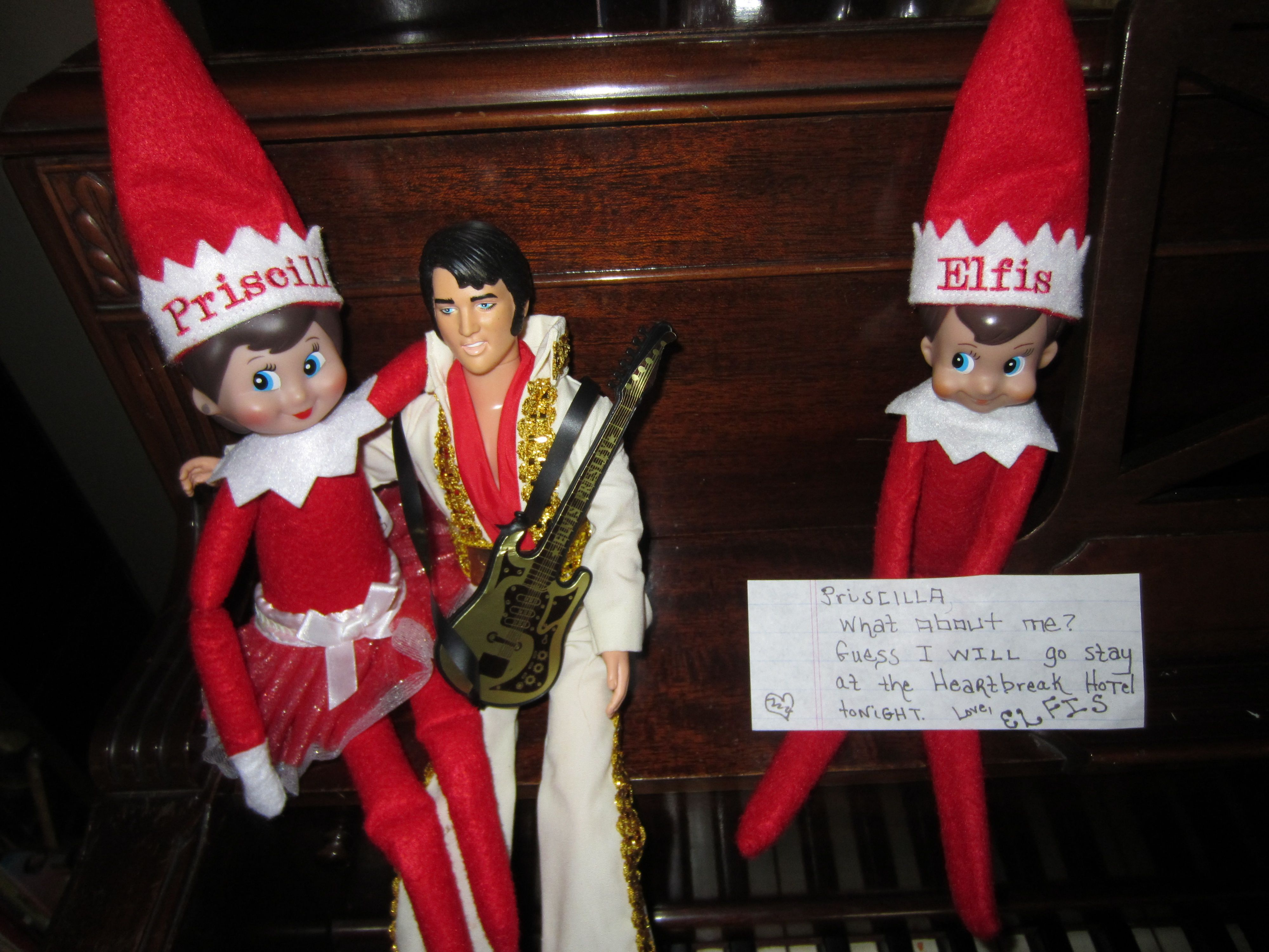 Our Elf on the Shelf Elfis Elvis our girl Elf Priscilla