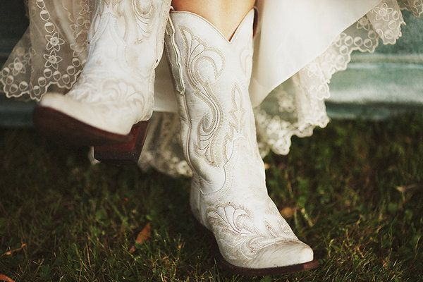 But, if you're in the wilderness... nothing beats the most durable version of wedding boots... White cowgirl boots :)