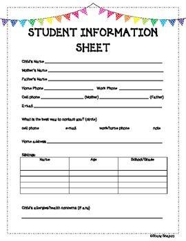 student information sheet parents and students. Black Bedroom Furniture Sets. Home Design Ideas