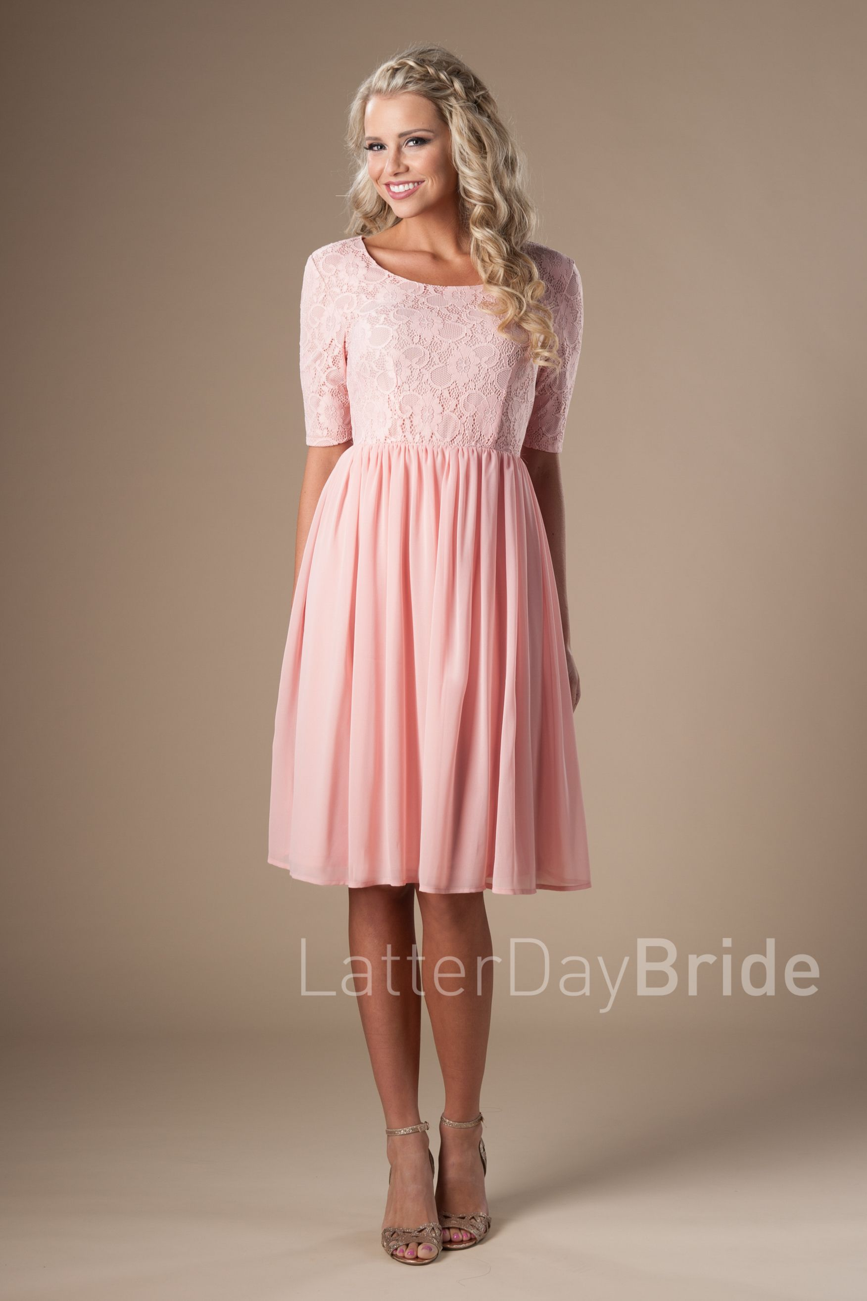 d2118eab064e6 modest bridesmaid dresses in blush with sleeve ruffle, cheap formalwear at Latter  Day Bride   2018 Bridal Colle…   Modest Bridesmaid Dresses Under $100 in ...