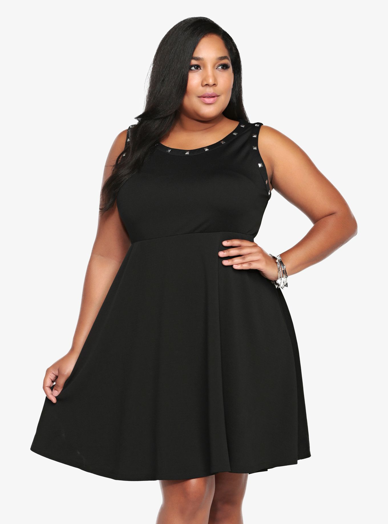 Lace dress torrid  Turn heads with our Studded Skater Dress  Thick Chick Clothing