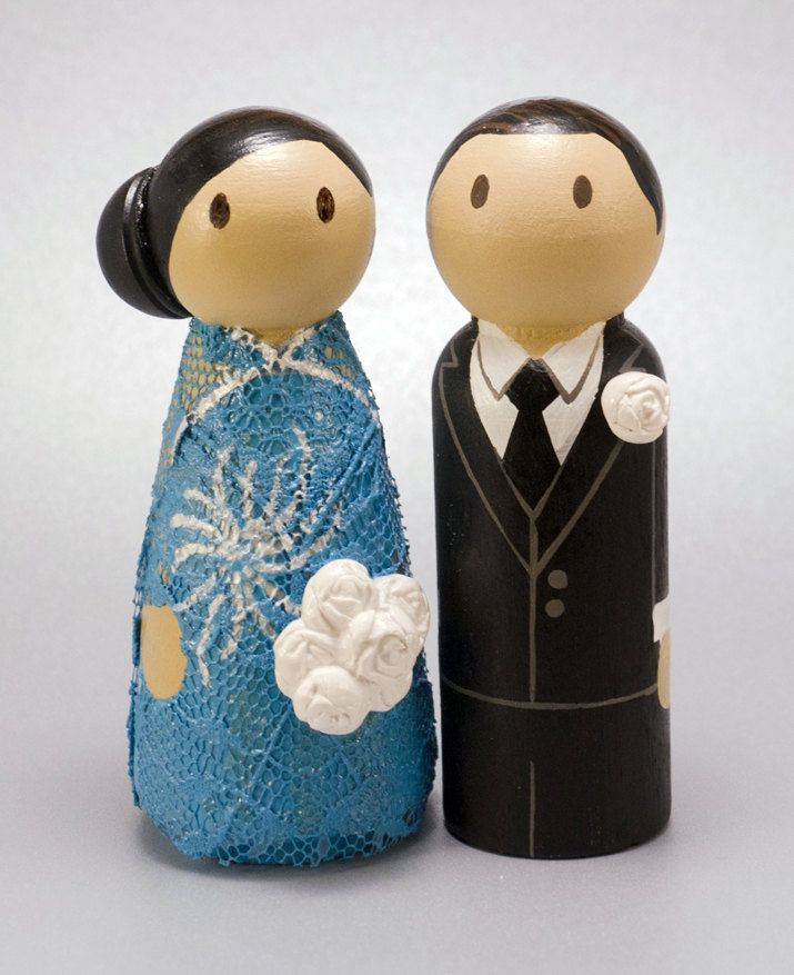 Traditional Wedding Wooden Peg Doll Cake Topper with by CustomCao, $60.00