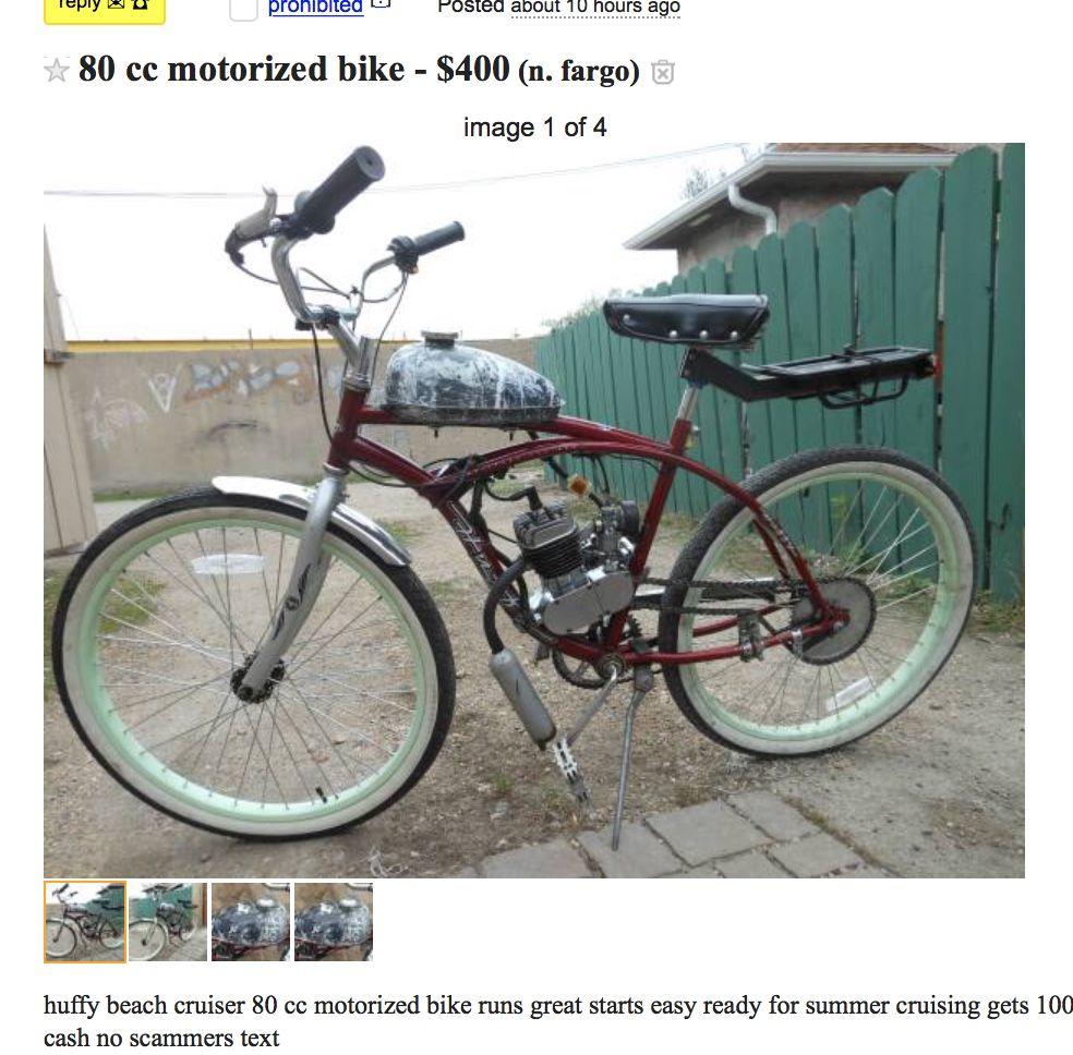 Custom Bicycle Gas Powered Found On Craigslist In Fargo Custom Bicycle Garbage Disposal Bicycle