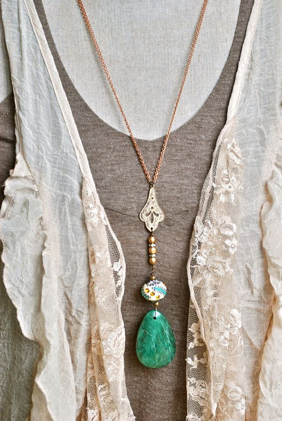Green jade gemstone bohemian long beaded by tiedupmemories on Etsy
