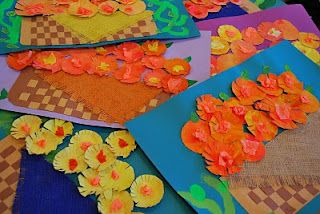 3D painted paper marigolds in a woven basket