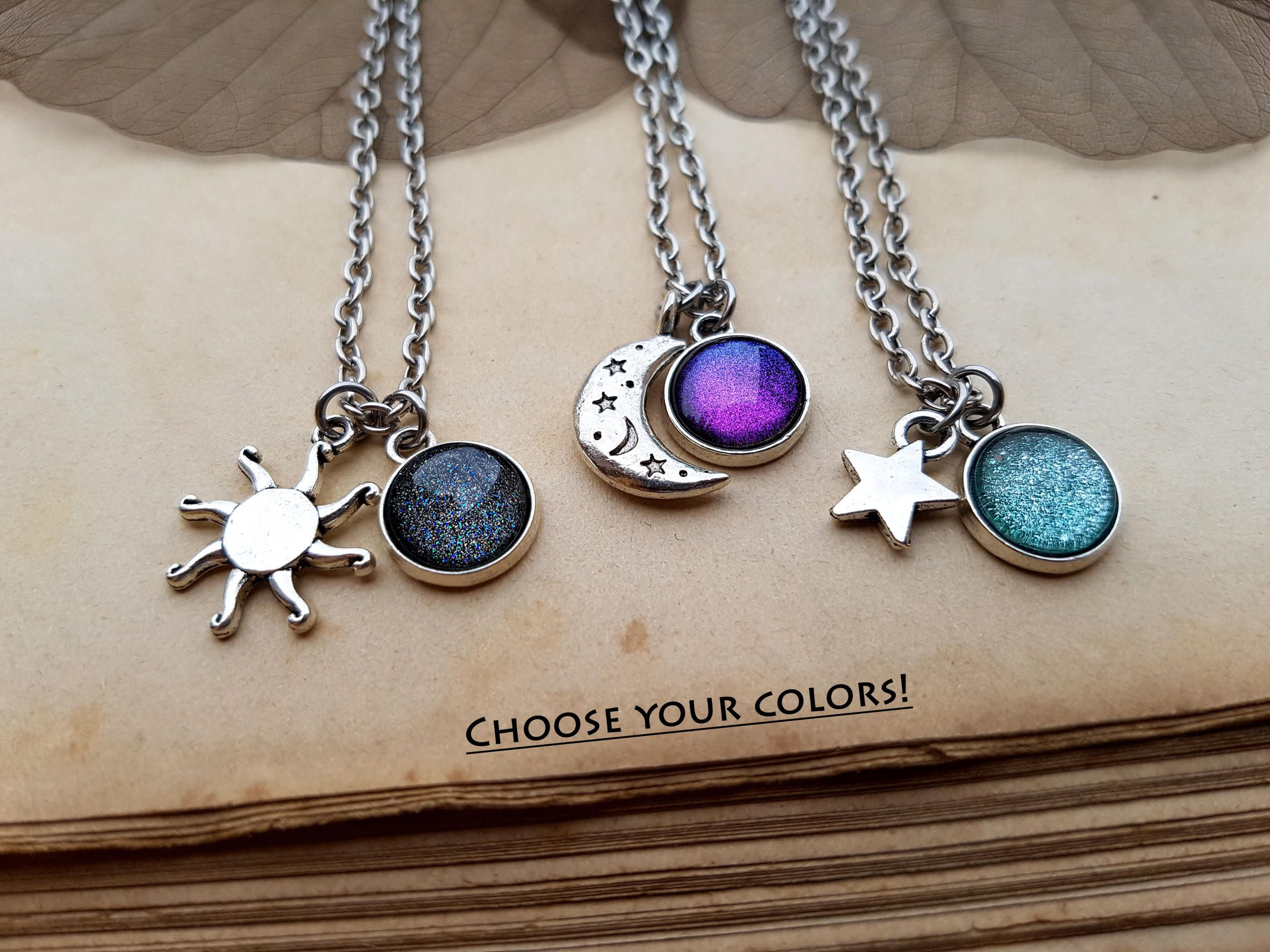 necklace golden silver moon sun sterling and