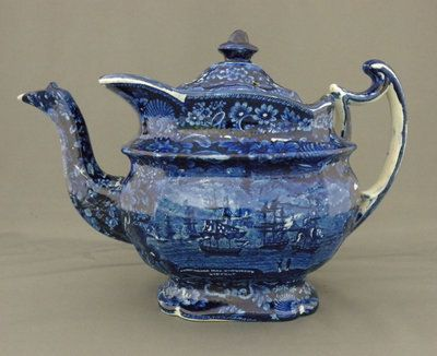 Transferware Teapot Blue and White portraying a scene from the War of 1812 in which commodore MacDonough is victorious.His most notable achievement occurred during the War of 1812. As commander of American naval forces in Lake Champlain he won the decisive Battle of Lake Champlain, also known as the Battle of Plattsburgh