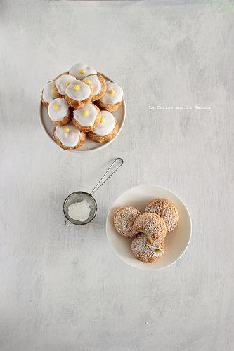 ... Petits choux (choux craquelins au lemon curd & petits choux glacés à la vanille) ...