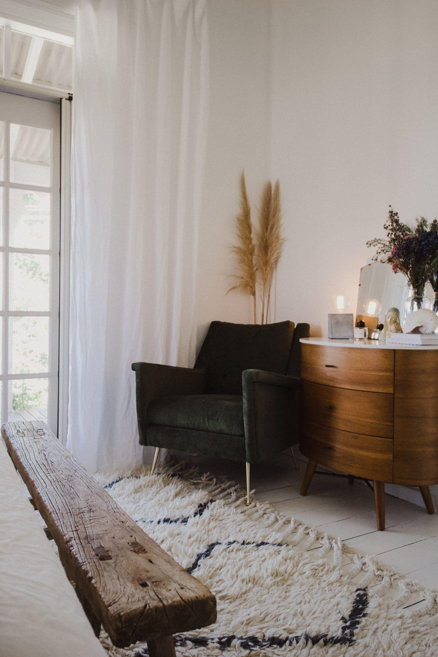 Green Velvet Chair In The Master Bedroom Green Velvet Chair Long Living Room Home Decor Inspiration
