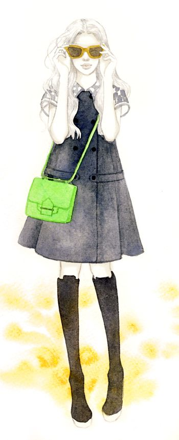 ysl coat dress with reed krakoff neon cross body. Illustration by Teri Chung.