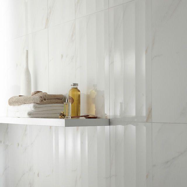 Carrelage mural marbre blanc Slim 30 x 60 cm - CASTORAMA | Carrelage mural, Parement mural et ...