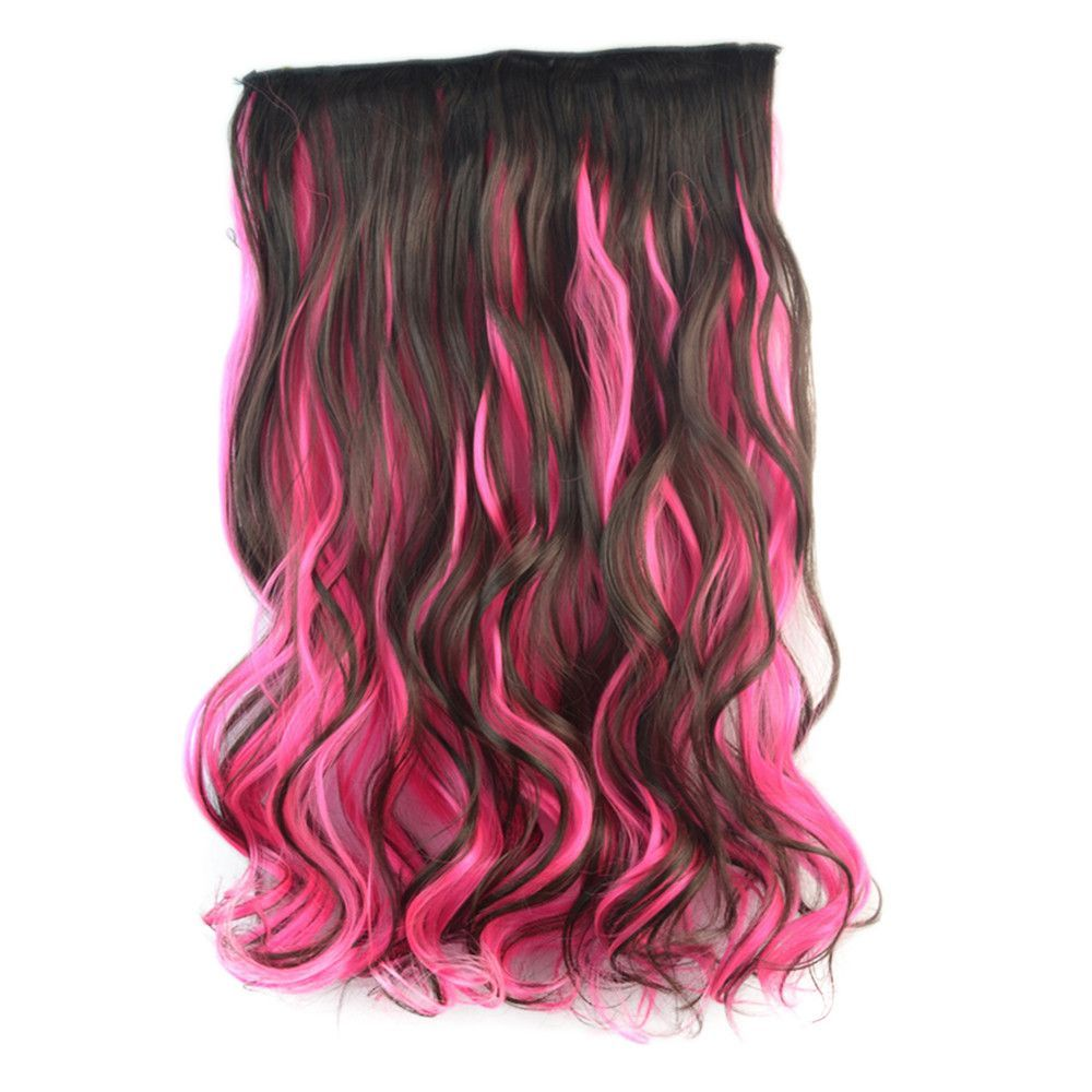 5 Cards Wig Piece Hair Extension Highlights Dark Brown With Pink