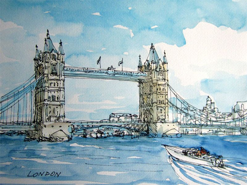 London Tower Bridge Original Watercolor 24 X 32 Cm 53 00 Via