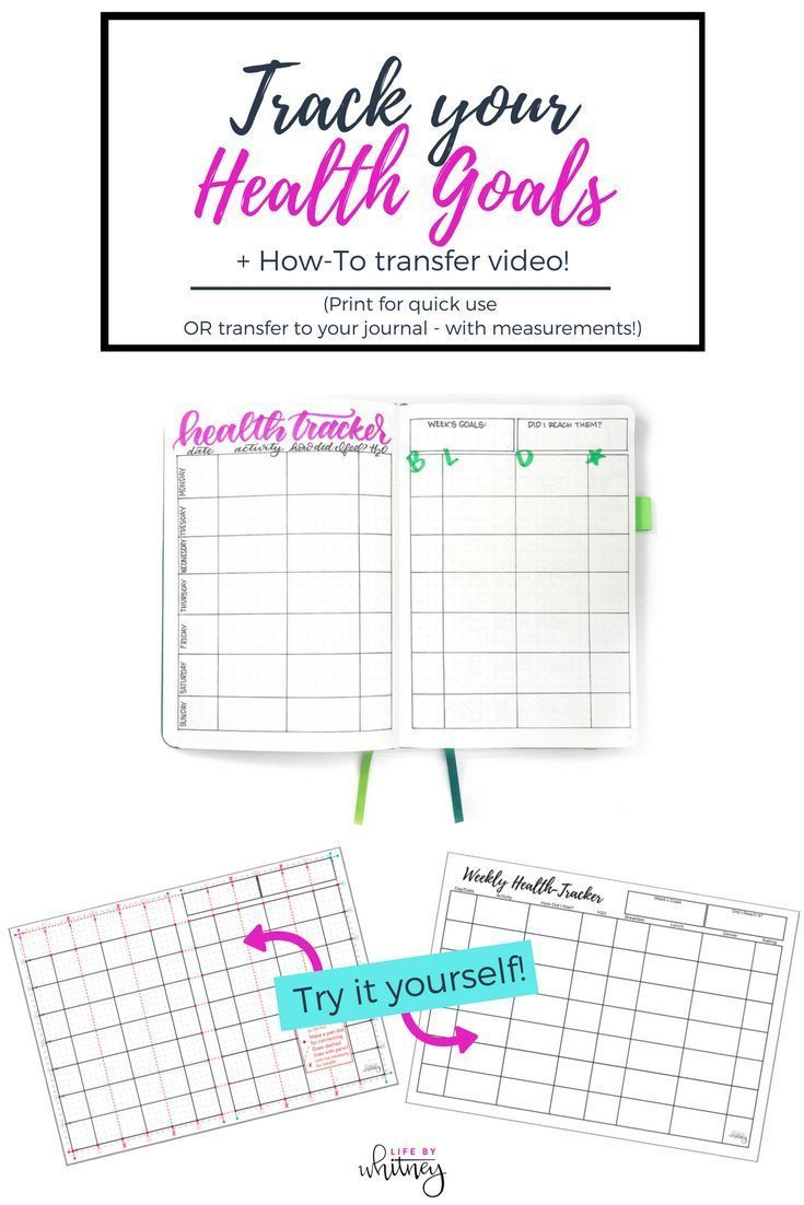 Track your health with this bullet journal layout! Print for quick use or transfer to your journal with an easy how-to video!       #bulletjournal #healthyeating #healthyliving #planner