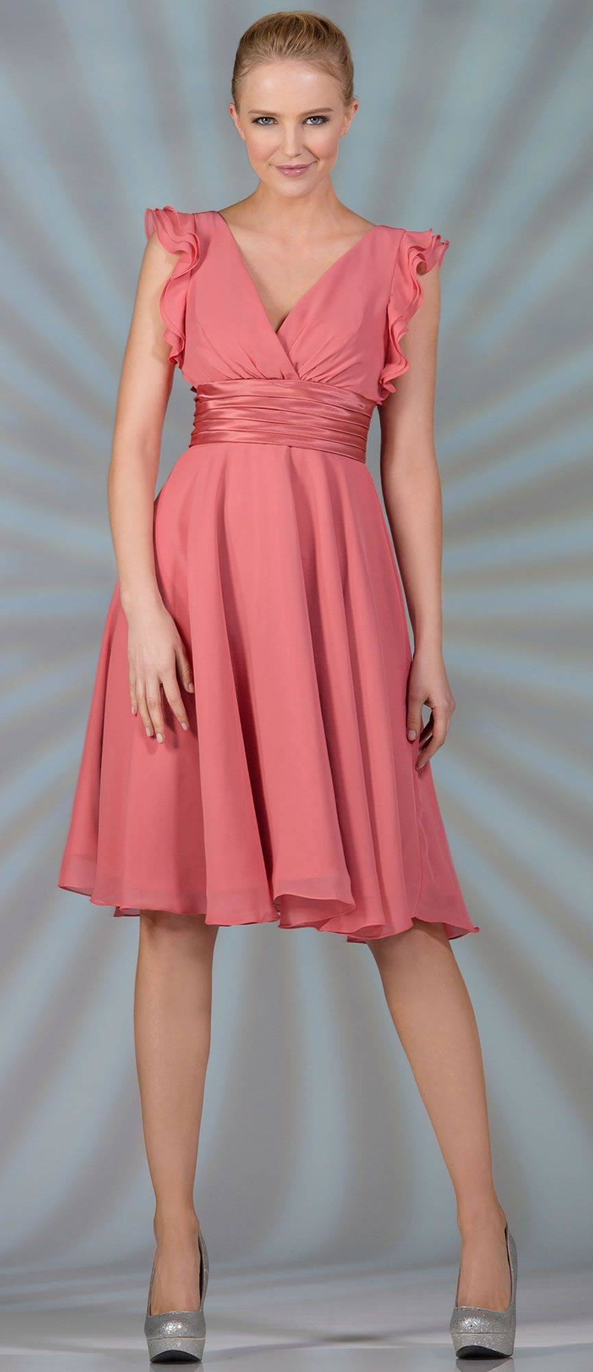 Coral formal short dress with wide sleeves colors xs to xl