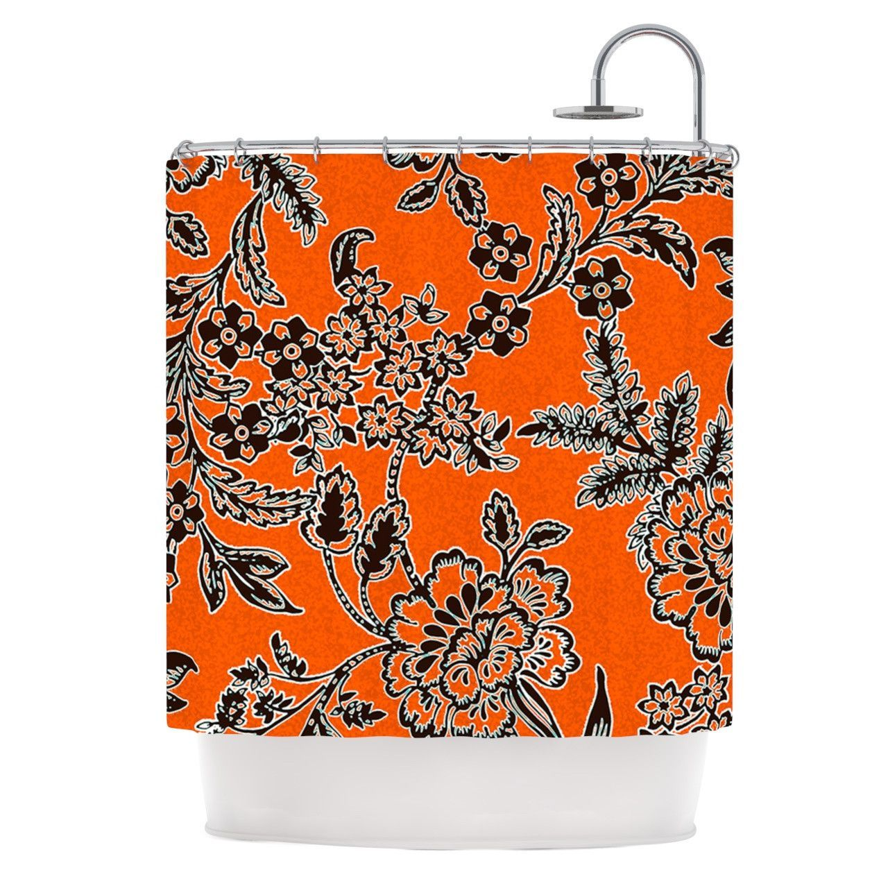 Vikki Salmela Blossom Orange Black Shower Curtain