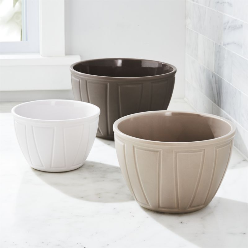 Shop Carter Mixing Bowls Set Of 3 Designed Exclusively For Us By Carter Mcguyer This Set Nests Three Mixing Bowls In Sha Crate And Barrel Bowl Mixing Bowls